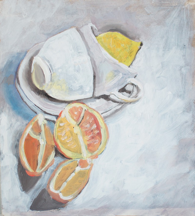 Still life painting with cups, lemon and orange segments