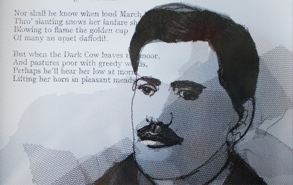 Drawing on net with stitch showing the image of the Slne poet Francis Ledwidge.