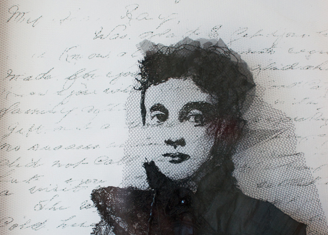 Portrait of the artist's grand-aunt, using the letter she wrote to her nephew. Photo transfer onto net with stitch.